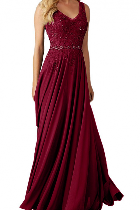 Lace Prom Dress,Long Prom Dresses,Burgundy Formal Dresses