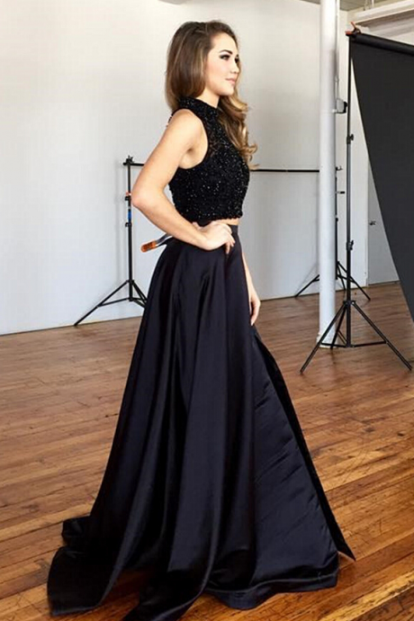 Black Satin Prom Dresses,2 Pieces Beaded Floor Length Prom Dress,Women Party Dresses
