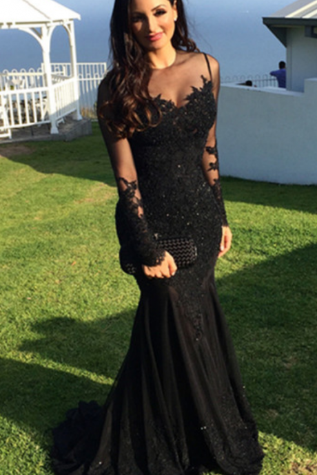 Mermaid Lace Black Beading Prom Dress,Long Prom Dresses,Charming Prom Dresses,Evening Dress,