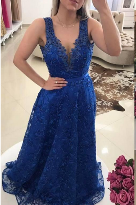 New Sexy Sheer V-Neck Prom Dress,Wear Illusion Lace Appliques Beaded Prom Dresses,Long Backless Formal Party Gowns