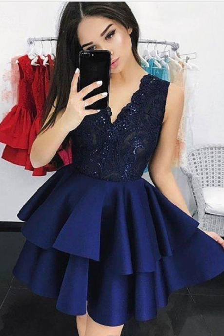 Custom Made Blue V-Neckline Lace Bodice and Tiered Satin Skirt A-Line Short Evening Dress, Homecoming Dress, Graduation Dress, Cocktail Dress, Party Dress