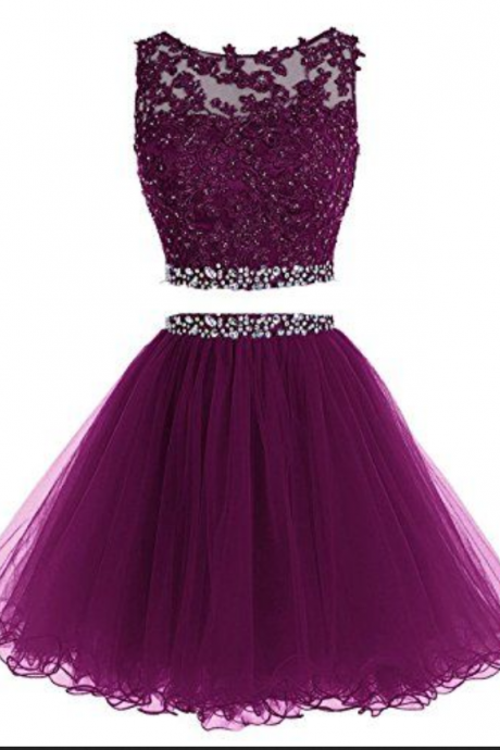 Custom Made Purple Two-Piece Bateau Neckline Tulle and Crystal Embellished Short Evening Dress, Homecoming Dress, Graduation Dress, Cocktail Dress, Party Dress