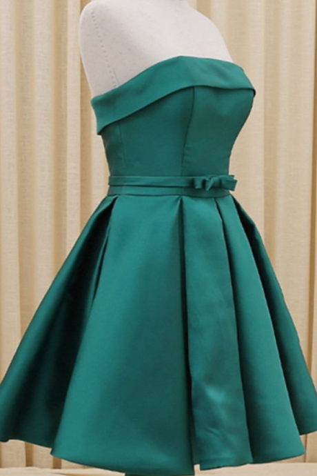 Custom Made Green Strapless Ribbon A-Line Evening Dress, Homecoming Dress, Graduation Dress, Cocktail Dress, Party Dress