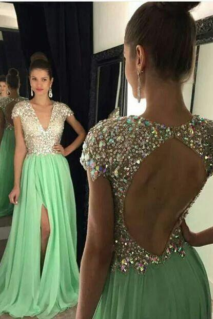 Cap Sleeves Prom Dress, with Slit Crystaled Prom Dresses Open Back,Prom Dresses,Long Evening dresses
