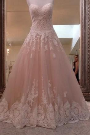 Sweetheart Wedding Dresses,Ball Gown Wedding Dress, with Lace Trim Bridal Dresses