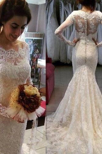 Long Sleeves Lace Wedding Dress with Buttons Back,Long Bridal dresses