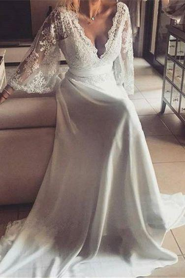 Plunging V Lace Appliqués A-line Wedding Dress with Bell Sleeves and Removable Sash