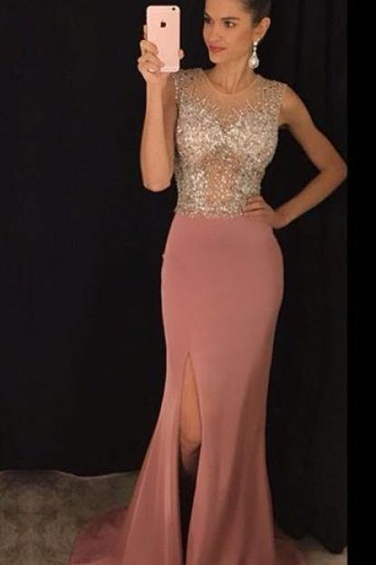 Crystaled Prom Dress with Slit, Evening Dress,Prom Dresses,Long Evening dresses