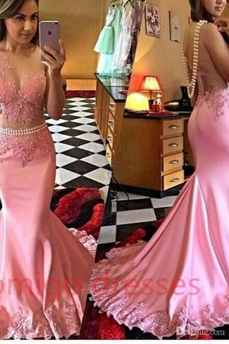 Pink Mermaid Long Prom Dresses Illusion Bodice Applique Pearls Sheer Formal African Satin Women Gown Vestidos
