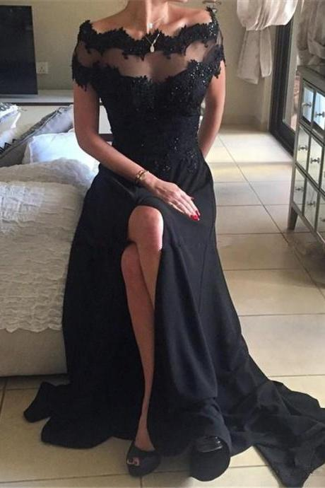 Off The Shoulder Prom Dress,Split Black Prom Dresses,Short Sleeves Evening Dresses ,Lace Appliques Cheap Prom Dress