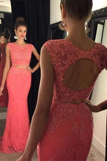 Fashion Prom Dresses,Lace Prom Dress,Mermaid Formal Gown,2 pieces Prom Dresses,Lace Evening Gowns,2 piece Formal Gown For Teens