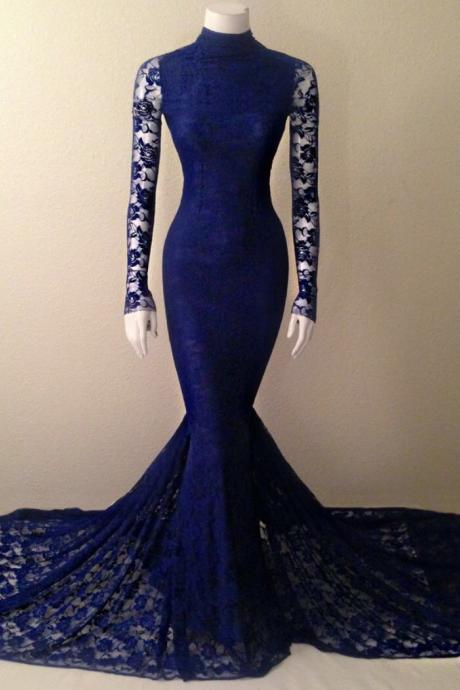 Navy Blue Lace Evening Dress,High Neck Mermaid Evening Gown, With Long Sleeves evening dress,lace prom dress,backless Evening Dresses,unique prom dresses,mini modest prom dresses,party dresses,bridesmaid dresses,Beading Evening Dress,party gowns,celebrity dresses,straps prom dresses,Chiffon Prom Gowns,Luxury Prom Dresses
