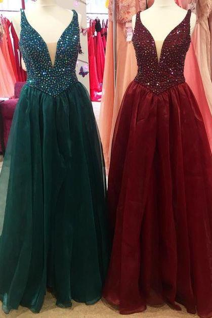 Plunging Neck A-line Long Prom Dress ,Prom Dresses, Formal Prom Gown, With Beading evening dresses, Quinceanera Dresses