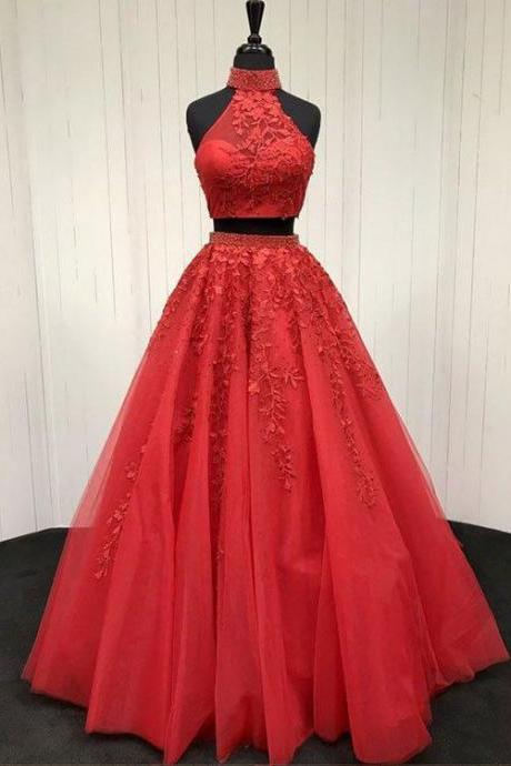 Red Two Pieces Prom Dress, Prom Dresses, Formal Prom Gown, With Beading evening dresses, Quinceanera Dresses