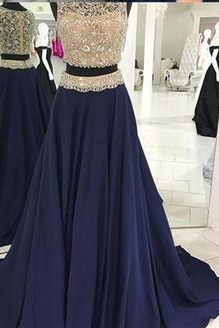 Two Pieces Navy Prom Dress ,with Beaded Crop Top Prom Dress ,Prom Dresses, Formal Prom Gown, With Beading evening dresses, Quinceanera Dresses