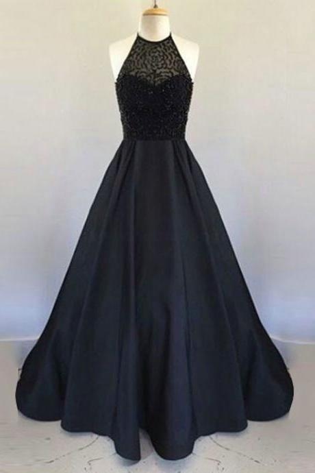 Open Back Black Prom Dress with Beaded Bodice,Prom Dresses, Formal Prom Gown, With Beading evening dresses, Quinceanera Dresses