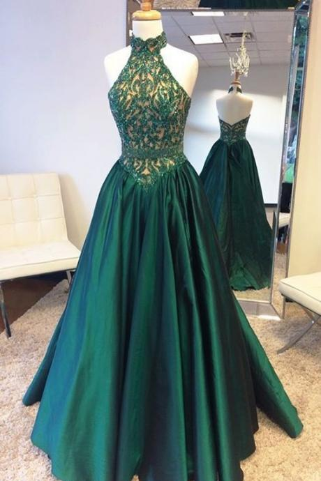 Halter Prom Dress with Glitter Appliques,Prom Dresses, Formal Prom Gown, evening dresses, Quinceanera Dresses
