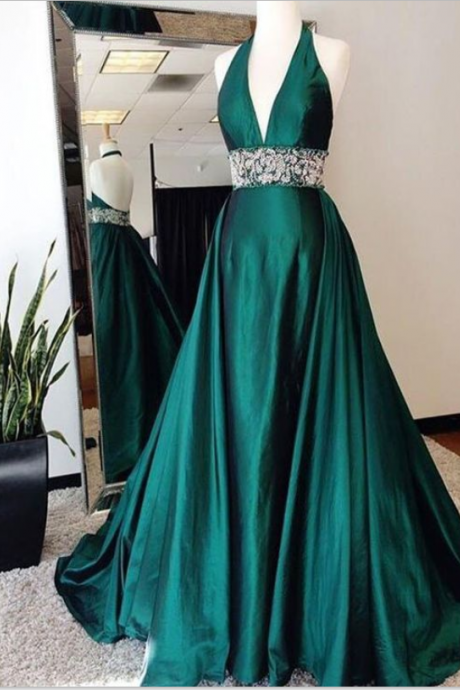 Halter Emerald Green Prom Dress, with Open Back Prom Dresses,Prom Dresses, Formal Prom Gown,evening dresses, Quinceanera Dresses