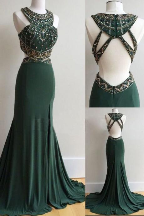 Dark Green Prom Dress with Slit,Prom Dresses, Formal Prom Gown, With Beading evening dresses, Quinceanera Dresses