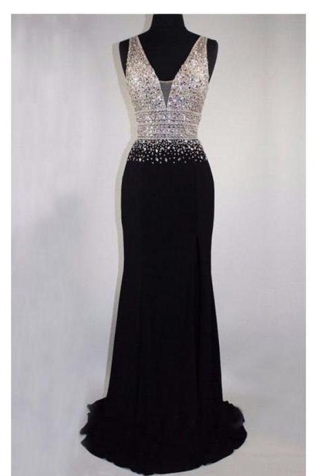 V Neck Black Prom Dress with Crystals Beads ,Prom Dresses, Formal Prom Gown, With Beading evening dresses, Quinceanera Dresses