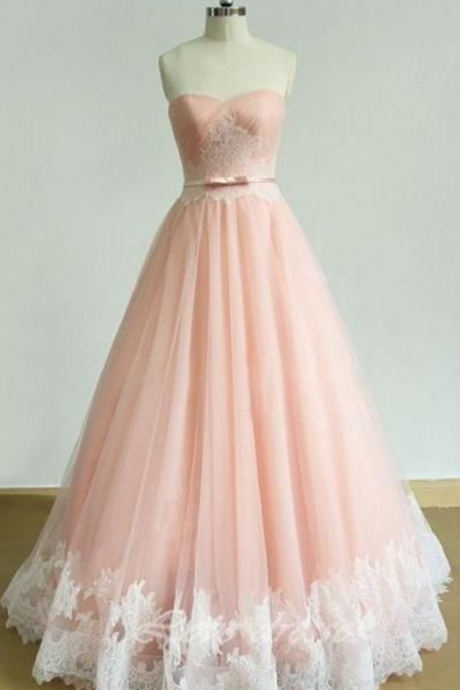 Strapless Long Lace Prom Dresses,Back Up Lace Pink Prom Dress For Teens