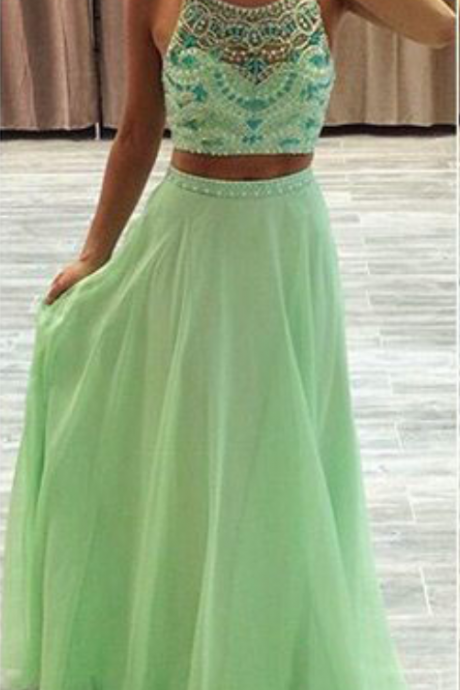 Spaghetti Straps Prom Dress,Two Pieces Long Prom Dresses,Evening Dresses,Backless Party Dresses,Beautiful Dresses For Teens, Beaded Prom Dresses, evening dresses