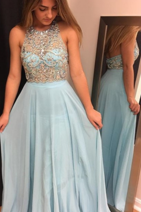 Cheap prom dresses ,Blue Beading Prom Dress,Halter Chiffon Prom Dresses ,Prom Dresses, evening dresses