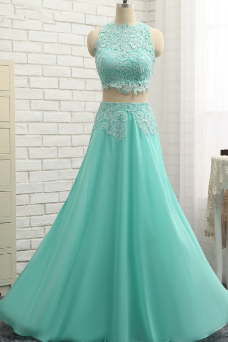 A-line High Collar Prom Dress,Chiffon Lace Prom Dresses,Two Pieces Long Prom Gown ,Evening Dresses, Evening Gown,Prom Dresses, evening dresses