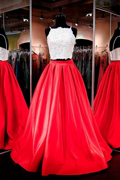 Two Pieces Party Dresses, Two Straps White Lace Prom Dress,Top Red Satin Prom Dresses,Princess A Line Evening Prom Formal Gowns,Evening Gown,Prom Dresses, evening dresses