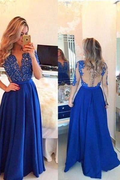 long prom dresses,navy blue prom dresses,half sleeve see-through evening dress,formal dress, Evening Gown,Prom Dresses, evening dresses