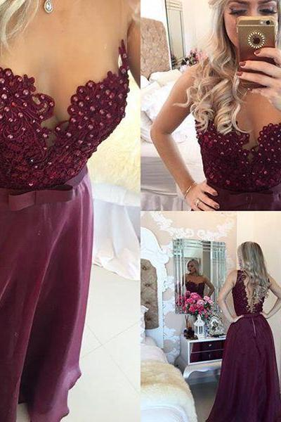 Long prom dresses, A-line beadings burgundy prom dress, long formal gown,evening dress, Evening Gown,Prom Dresses, evening dresses