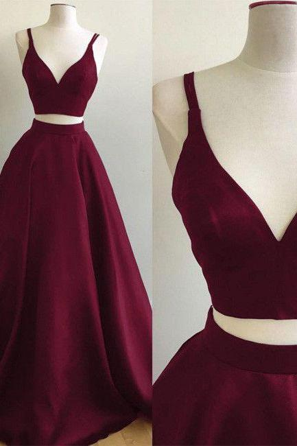 Burgundy A-line Straps Two Piece Formal Dress Sleeveless Elegant Prom Dress,Evening Gown,Prom Dresses, evening dresses