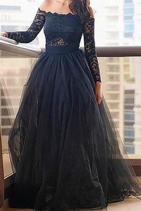 Sexy Evening Gowns,Modern Off-the-shoulder Prom Dress,Black Prom Dress With Lace Long Sleeve Prom Dress,Prom Dresses, evening dresses