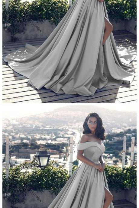 Sexy leg slit long silver gray prom dresses, v neck off the shoulder evening gowns,Prom Dresses,Off-the-shoulder Evening Gowns