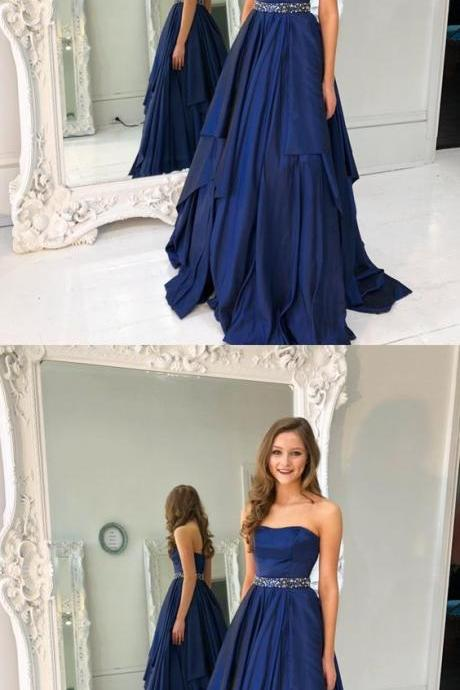Gorgeous Strapless Navy Blue Long A-Line Prom Dress , Evening Gowns