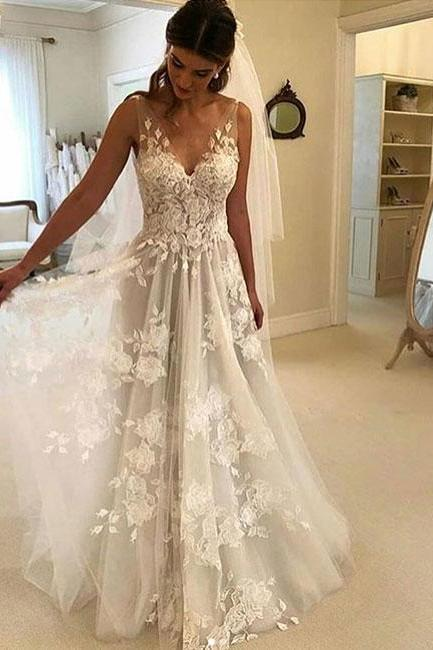 White V-Neck Lace Tulle Wedding Dress,Charming Prom Dress,Evening Gowns ,Wedding Dresses