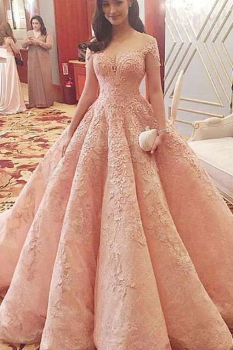 Ball Gown Prom Dress,Lace Appliques Prom Gowns,Pink Prom Dress,Formal Prom Gown,Lace Party Dress,Evening Dresses,Long Prom Dresses,Party Dresses