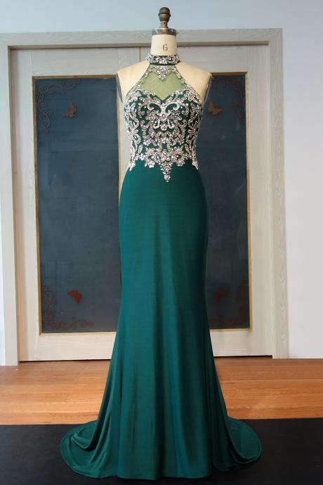 Sexy Transparent Green Prom Dresses,Halter Neck Mermaid Prom Dresses, Long Luxury Beaded Prom Dress,Crystals Sleeveless Evening Party Dresses