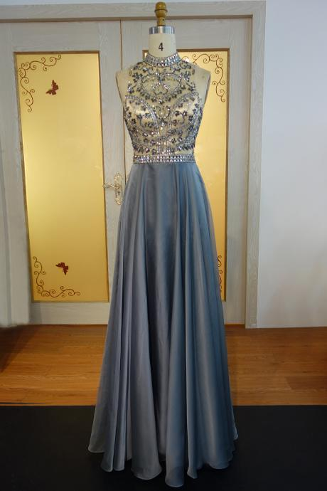 Sexy Open Back Beaded Prom Dress,Crystals Gray Prom Dresses, Long Elegant High Neck Prom Dress,Sleeveless Satin Evening Party Dresses, Evening Dresses,Long Prom Dresses,Party Dresses