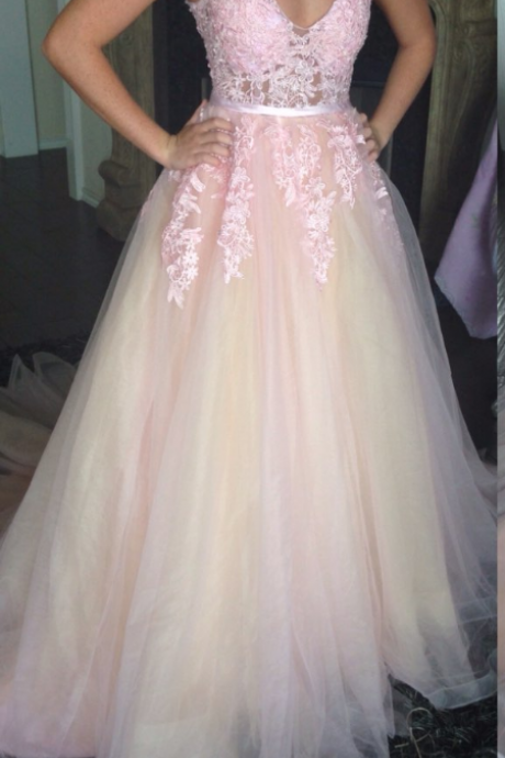 Pink Prom Dresses, Tulle eVENING Dresses, V Neck Prom Dresses, Elegant Prom Dresses, Lace Prom Dresses, Long Prom Dresses, Cheap Formal Dresses, Backless Prom Dresses