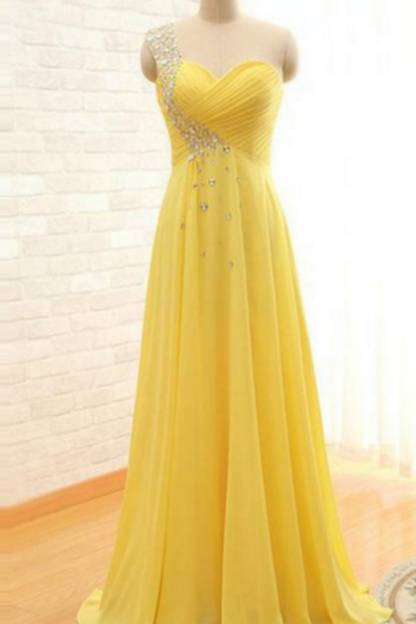 Long A-line Prom Dress,One Shoulder Beading Prom Dresses,Chiffon Prom Dresses ,Evening Dresses,Long Prom Dresses,Party Dresses