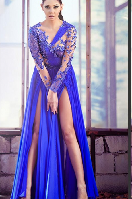 Newest Sexy A Line Sheer Royal Blue Lace Applique Long Sleeve Chiffon African Party Prom Dresses