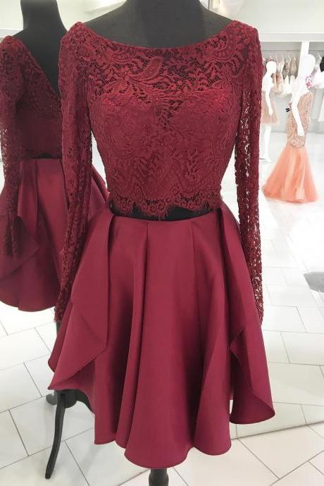 Long Sleeves Homecoming Dresses,Two Piece Short Burgundy Homecoming Dress ,Party Dress,Prom Dresses,Party Dresses