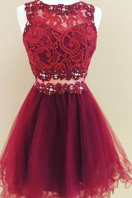 Lace Homecoming Dress,Ruffles Dress,Short Prom Dresses ,Elegant Cocktail Dress,Burgundy Homecoming dresses