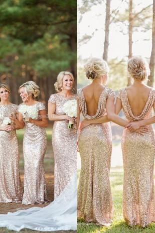Gold Sequins Bridesmaid Dresses,Backless Scoop Collar Bridesmaid Dress,Sweep Train Short Sleeve Bridesmaid Dresses,Cheap Sparkly Formal Prom Gowns, Evening Dress Wedding,Bridesmaid Dresses Backless,Short Sleeve Bridesmaid Dress
