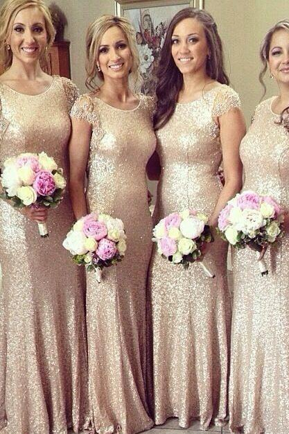 Short Sleeve Rose Gold Bridesmaid Dress,Sequined Bridesmaid Dresses, Scoop Collar Court Train Bridesmaid Dress,Beaded Sequins Long Formal Prom Gowns, Evening Wear Dress Wedding