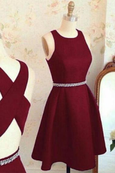 Cheap homecoming dresses,homecoming Dress, Short A line homecoming dress,burgundy homecoming dress,cross back short party dress,cocktail dresses