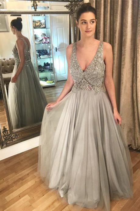 V Neck Tulle Prom Dress,Crystal Beaded Prom Dresses, Long Evening Dress