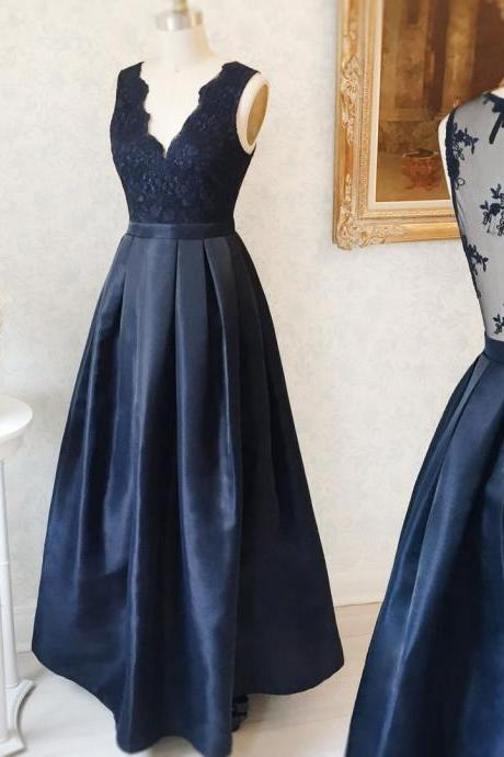 V Sleeveless Prom Dress,Long Dress, Featuring Laced Bodice Prom Dresses,Sheer Back, Lace Prom Dresses, Long Evening Dress