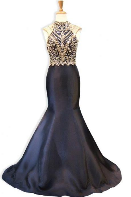 Sexy Black Evening Dress, Backless Evening Dress, Formal Dresses, Cheap Formal Dress, Satin Formal Dress,Beaded Prom Dresses, Long Evening Dress